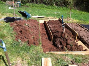 The first raised bed under construction